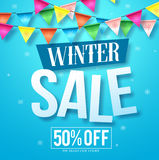 Winter sale vector design in blue snow background with colorful hanging streamers. For seasonal store promotion. Vector illustration Royalty Free Stock Image