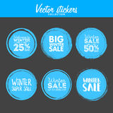 Winter sale. Vector Grunge Circle. Element for your Design. Rubber Stamp Texture. Distress Border Frame Stock Image