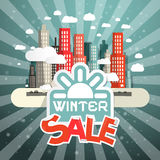 Winter Sale Vector Illustration with City Stock Photos
