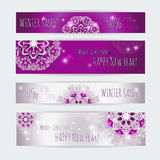 Winter Sale. Vector new year web design banner templates set. Royalty Free Stock Photography