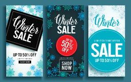 Winter sale vector poster template set with discount text and snow elements Stock Photos
