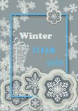 Winter sale vertical banner with light gray snowflakes and gift box   Royalty Free Stock Image