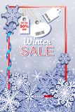 Winter Sale vertical banner with snowfall and tags. Barcode does not contain links to products and websites. Vector illustration Stock Image