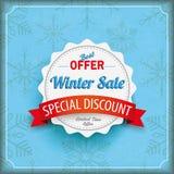 Winter Sale Vintage Cover Snowflakes Big Emblem Royalty Free Stock Photos
