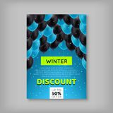 Winter Sale Voucher, Discount. Black and blue balls on top of a blue background, a proposal for a seasonal fair. Vector illustration of advertising gifts Stock Photos