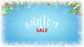 Winter sale web banner template. Seasonal discount background for business design. Vector illustration with lettering and snow. Realistic fir-tree branches and Royalty Free Stock Photos