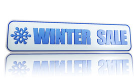 Winter sale white banner with snowflake symbol. Winter sale 3d white banner with blue text and snowflake symbol, business concept Royalty Free Stock Photos