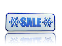 Winter sale white banner with snowflakes symbol. Winter sale 3d white banner with blue text and snowflakes symbol, business concept Royalty Free Stock Image
