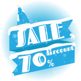 Winter sale. white and blue background and with a discount of 70 percent, vector illustration.  stock illustration