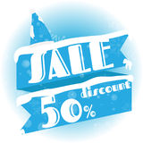 Winter sale. white and blue background and with a discount of 50 percent, vector illustration stock illustration