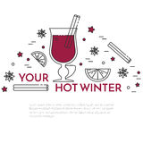 Winter sales mulled wine banner Linear style. Winter horizontal mulled wine banner. Flat linear stile. Vector illustration. Vinous concept for autumn, winter royalty free illustration