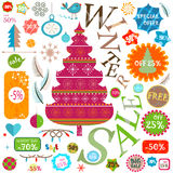 Winter sales set various elements Royalty Free Stock Image