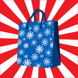 Winter sales shopping bag Stock Photos