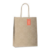 Winter sales shopping bag with snowflakes Royalty Free Stock Photos