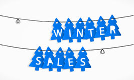 Winter Sales. Tree shaped tags winter sales Royalty Free Stock Photos