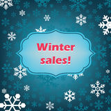 Winter sales vector background with snowflakes Stock Images