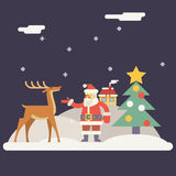 Winter Santa Claus and Rudolph Deer Characters New Stock Image