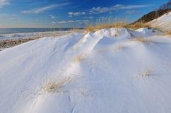 Winter, Saugautuck Dunes. Winter, Saugatuck Dunes State Park with drifted, fresh snow , Lake Michigan, Michigan, USA Stock Photography