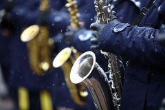 Winter saxophone Royalty Free Stock Photography