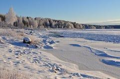 Winter in Scandinavia. Storforsen waterfall in scandinavia in winter Stock Photos