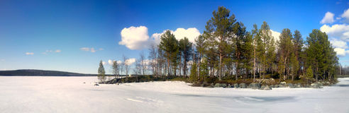Winter Scandinavian lake panorama Stock Photos