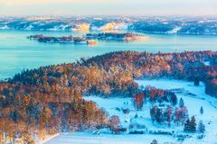 Winter Scandinavian scenery Stock Images