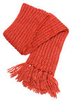 Winter scarf. Red winter scarf isolated on white background Stock Photo