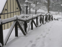 Winter Scene - 1. Snow covered footpath with snow on hand-rails and footprints in the snow Stock Image