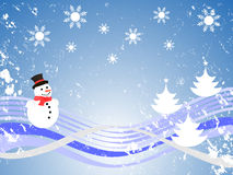 Winter scene. Vector illustration of a winter landscape with trees and snowman Stock Images