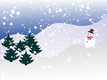 Winter scene. Vector illustration of an abstract winter landscape with trees and snowman Stock Photo