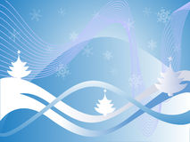Winter scene. Vector illustration of an abstract winter landscape Stock Photo