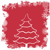 Winter scene. Winter border and christmas tree - additional ai and eps format available on request Stock Photos