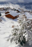 Winter scene. A chalet in the Swiss Alps Royalty Free Stock Photo