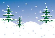 Winter scene. With snowy border and trees Royalty Free Stock Image