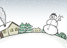 Winter Scene. Vector winter scene with snowman Royalty Free Stock Images