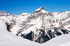 Winter Scene. Snowy mountain in the Swiss Alps Stock Photography