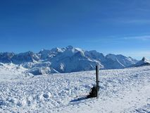 Winter scene. With the Mont Blanc in the background royalty free stock image