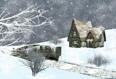 Winter scene. Beautiful winter illustration or christmas postcard Stock Image