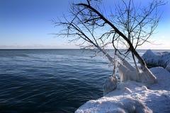 Winter scene. Beautiful winter nature scene, snow and ice around ocean, sun Stock Photography