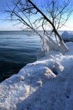 Winter scene. Beautiful winter nature scene, snow and ice around ocean, sun Royalty Free Stock Image
