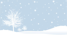 Winter scene. Simple winter scene illustration with winter trees on a snowy hillside Stock Image