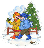 Winter Scene. Illustration of two children walking along in a winter scene Royalty Free Stock Photography
