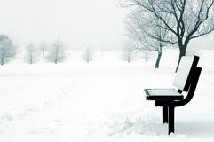 Winter Scene. Park bench covered in snow with a background of snow and trees Royalty Free Stock Photos