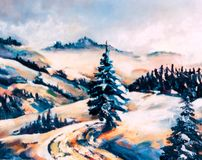 Winter scene. Mountains winter scene royalty free illustration