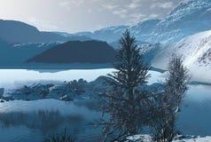 Winter Scene. Digital render of a winter mountain scene reflected in a rippled lake vector illustration
