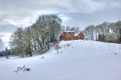 Winter scene. A winter snow scene of a country home Royalty Free Stock Images