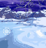 Winter scene. A snowy winter scene royalty free illustration