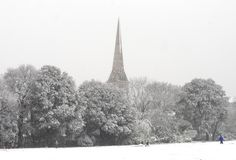 A winter scene. Snow covered ground with trees church spire and people playing. A winter scene Stock Photos