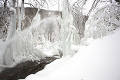 Winter scene. Snow, ice, water, river Royalty Free Stock Photo