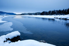 Winter Scene. Cold winter landsacpe, lake with snow and ice Stock Image